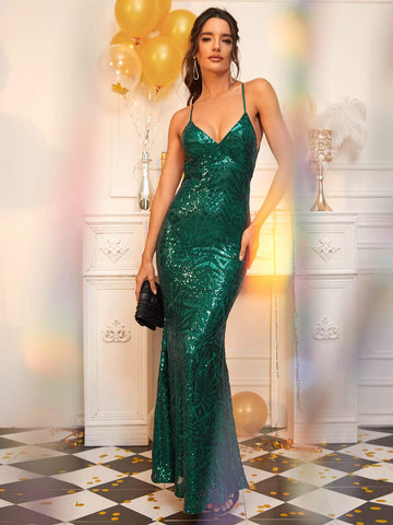 Green Sleeveless Slim Fit Lace Up Backless Fishtail Hem Sequin Dress