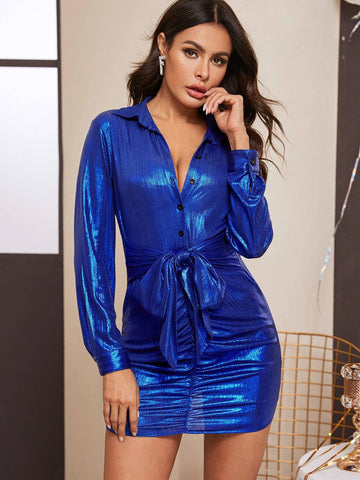 Blue Metallic Button Front Belted Ruched Shirt Dress