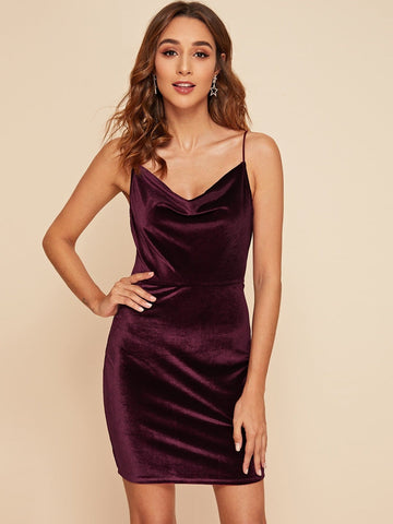 Burgundy Spaghetti Strap Sleeveless Draped Neck Velvet Slip Dress