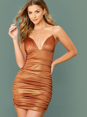 Sleeveless Clear Spaghetti Strap Ruched Glitter Mini Dress