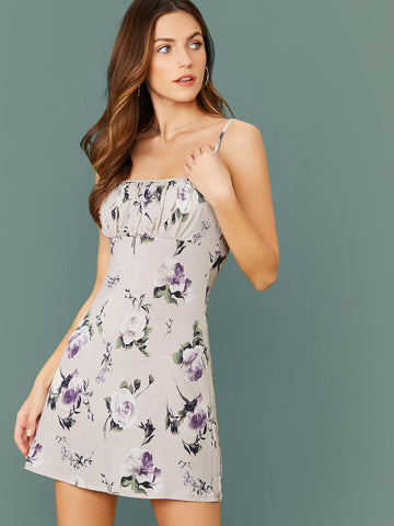 Grey Sleeveless Ruched Bust Spaghetti Strap Floral Mini Dress