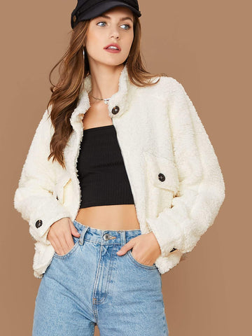 Beige Mock Neck Button Front Fuzzy Bear Sherpa Jacket