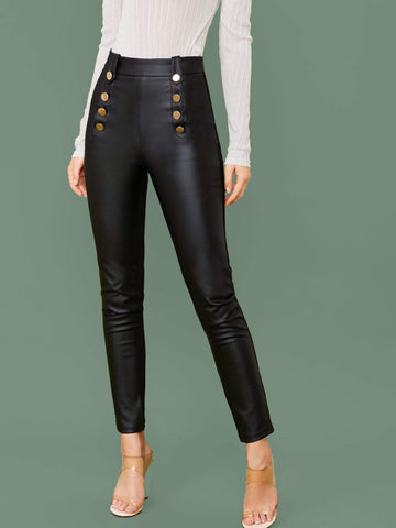 Black High Waist Button Detail Faux Leather Skinny Pants