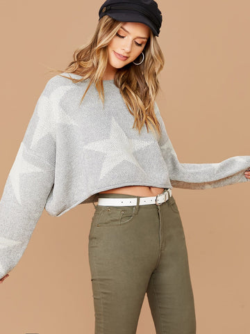 Grey Round Neck Crew Neck Knit Star Print Cropped Pullover Sweater