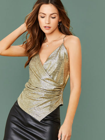 Spaghetti Strap Ruched Surplice Metallic Cami Tank Top