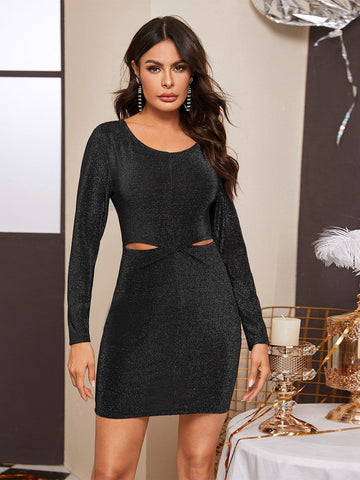 Black Round Neck Glitter Cut Out Slim Fit Dress