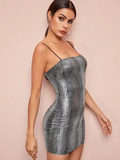 Sleeveless Spaghetti Strap Metallic Crocodile Embossed Cami Slim Fit Dress