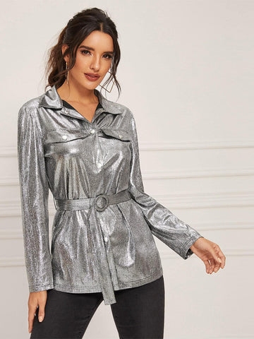 Grey Single Breasted Flap Detail Ring Belted Metallic Coat
