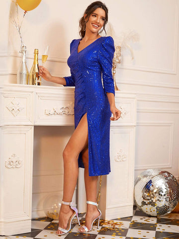 Bright Blue V-Neck Slim Fit Split Thigh Gigot Sleeve Sequin Dress