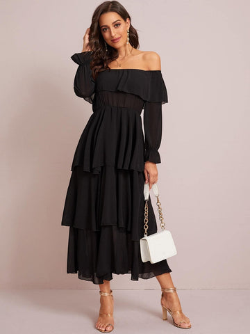 Black High Waist Off Shoulder Ruffle Trim Tiered Layered Dress