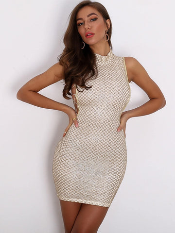 Stand Collar Sleeveless Joyfunear Mock-neck Lace Up Side Glitter Bodycon Mini Dress
