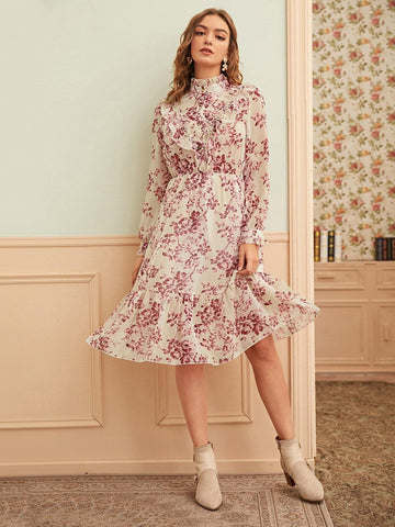 Stand Collar Floral Print Ruffle Trim Dress