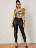 Square Neck Snakeskin Print Slim Fit Crop Tee Top