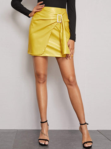 Bright Yellow High Waist Zip Back Wrap Draped Leather Look Skirt