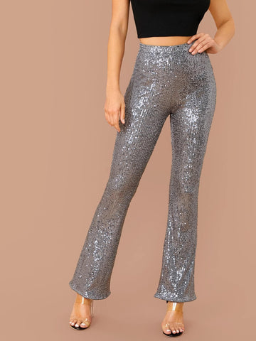 High Elastic Waist Flare Leg Sequin Pants