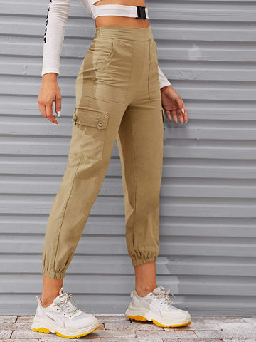 Khaki Cropped Mid Waist Solid Flap Pocket Cargo Pants