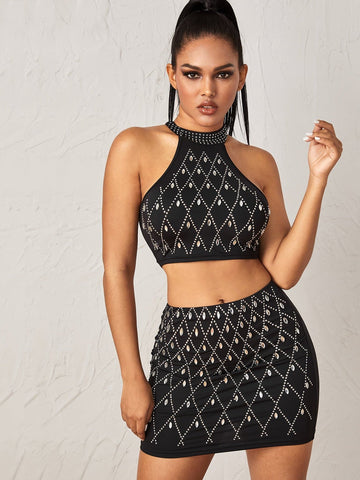 Black Sleeveless Rhinestone Detail Crop Halter Top and Bodycon Skirt Set