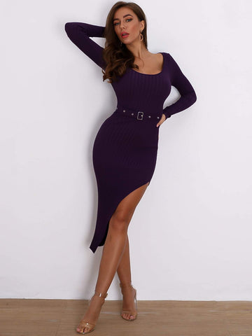 Purple Split Thigh Scoop Neck Belted Bodycon Sweater Dress