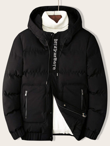Black Letter Embroidery Hooded Puffer Jacket