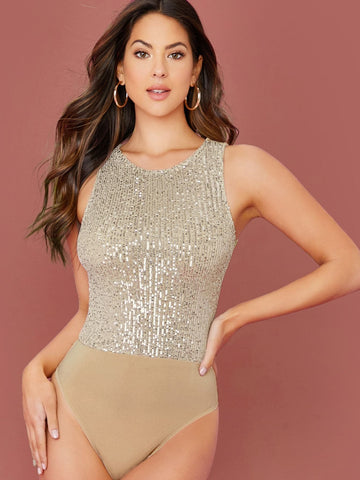Round Neck Sleeveless Zip Back Sequin Tank Bodysuit
