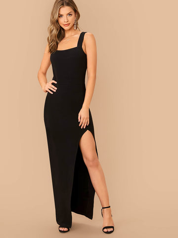 Black Sleeveless Thick Strap Split Thigh Slim Fit Dress