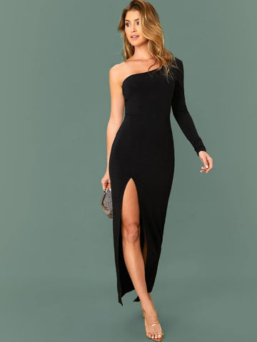 Black Slim Fit One Shoulder Split Thigh Dress