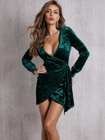 Green Plunge Neck Wrap Draped Slim Fit Short Velvet Dress