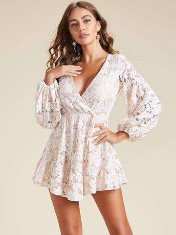 Pastel Pink V-Neck Bishop Sleeve Cut-out Back Belted Lace Mini Dress