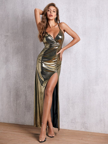Deep V-Neck Sleeveless Criss-cross Backless Split Thigh Metallic Cami Prom Dress