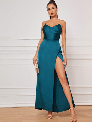 Green Spaghetti Strap Sleeveless Crisscross Backless Satin Wrap Cami Dress