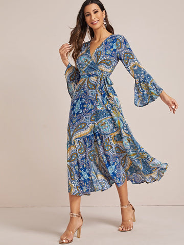 V-Neck Paisley Print Tie Front Dress