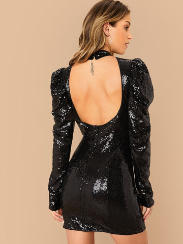 Black Stand Collar Open Back Leg-of-mutton Sleeve Sequin Slim Fit Dress