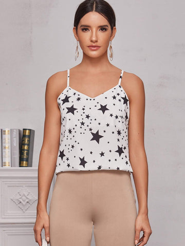 Black and White Spaghetti Strap Star Print O-Ring Detail Cami Top