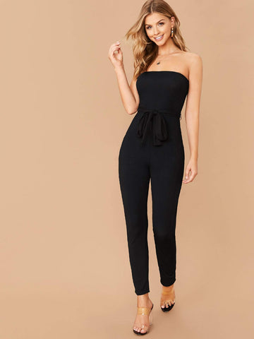 Black Strapless Sleeveless High Waist Rib-knit Belted Tube Jumpsuit