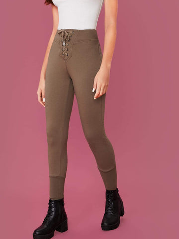 Lace-up Waist Solid Skinny Cropped Joggers Pants