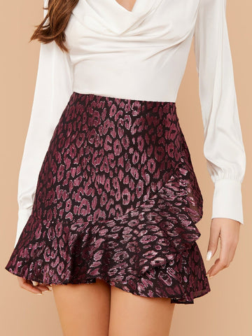 High Waist Ruffle Trim Leopard Jacquard Mini Skirt