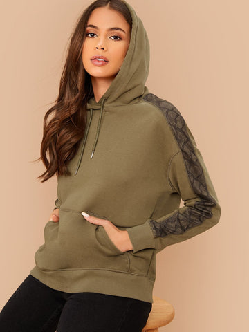 Army Green Drawstring Detail Contrast Snakeskin Panel Hoodie Pullover