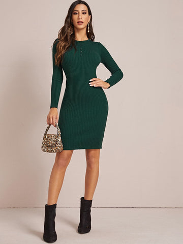 Green Round Neck Rib-Knit Slim Fit Sweater Dress
