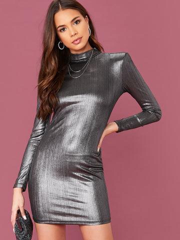 Grey Stand Collar Mock Neck Metallic Bodycon Dress