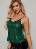 Spaghetti Strap Sequin Fringe Detail Mixed Media Cami Top