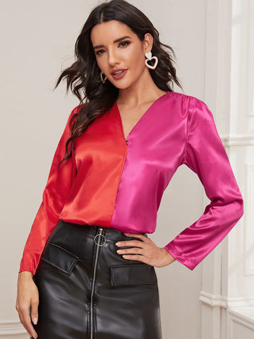 V-Neck Cut And Sew Buttoned Satin Blouse Top