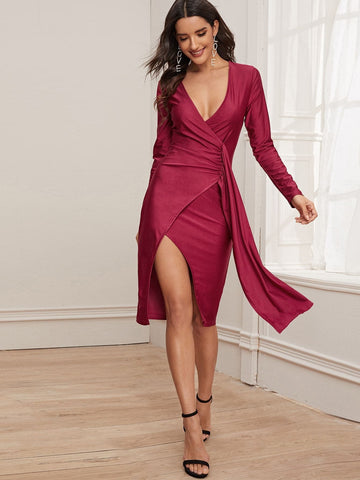 Burgundy High Waist Plunge Neck Wrap Draped Pencil Dress