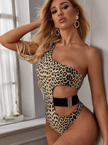 Leopard One Shoulder One Piece Swimwear