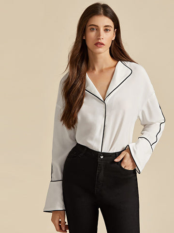 White Collared Contrast Trim Blouse Top