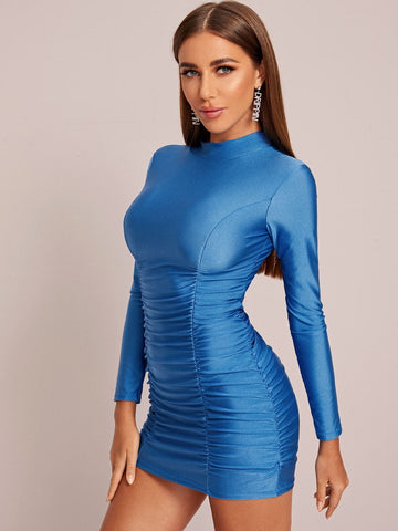 Neon Blue Stand Collar Mock Neck Ruched Slim Fit Dress
