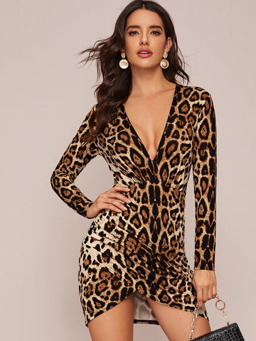 Slim Fit Plunging Asymmetrical Hem Leopard Print Dress