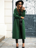 Single Breasted Self Tie Flounce Sleeve Button Up Trench Coat