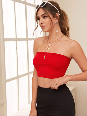 Bright Red Sleeveless Strapless Solid Slim Crop Tube Top