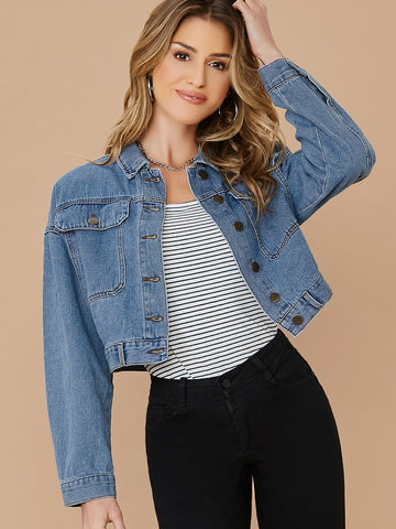 Blue Button Up Cropped Denim Jacket With Flap Pockets