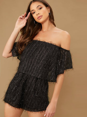 Black High Waist Off Shoulder Fuzzy Short Romper